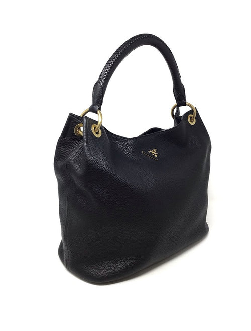Prada Black Pebbled Rolled Single Handle Hobo Tote