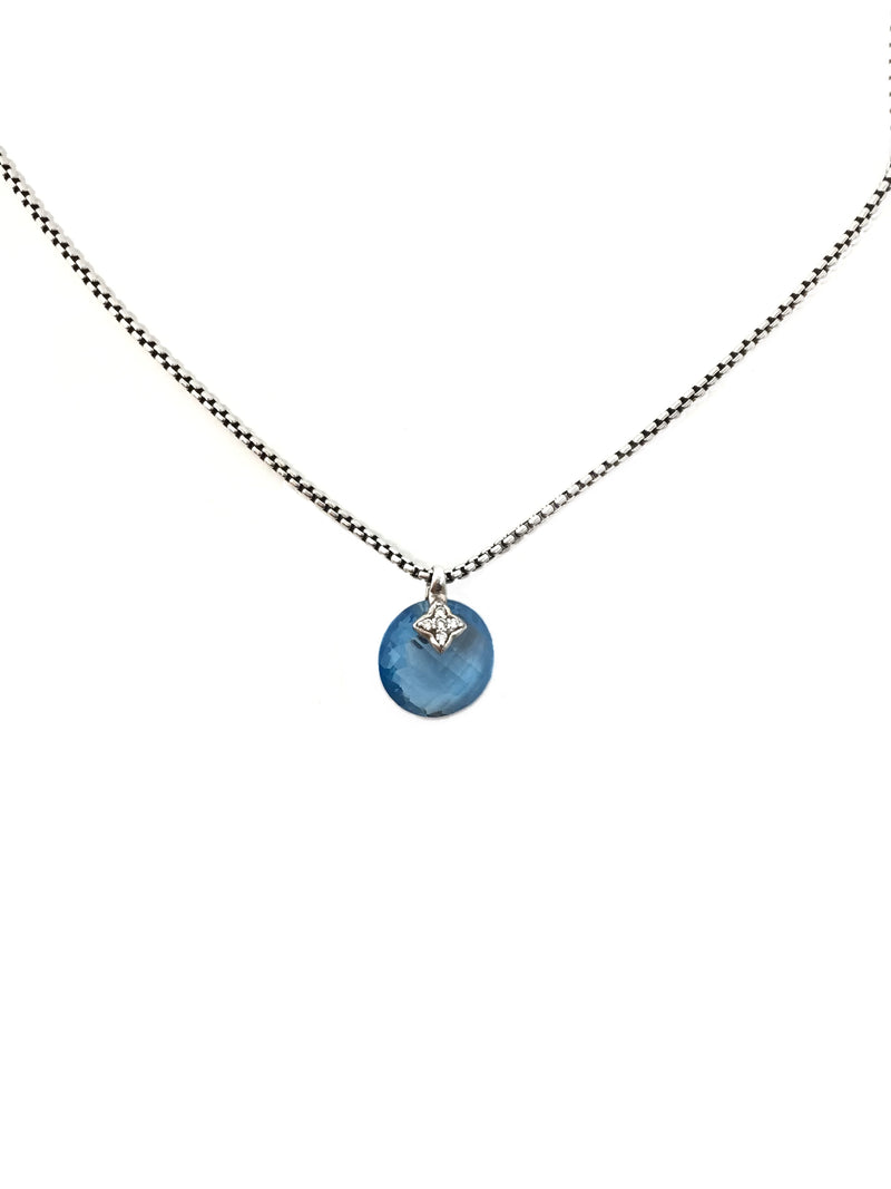 David Yurman Blue Topaz W/ Diamond Drop Necklace