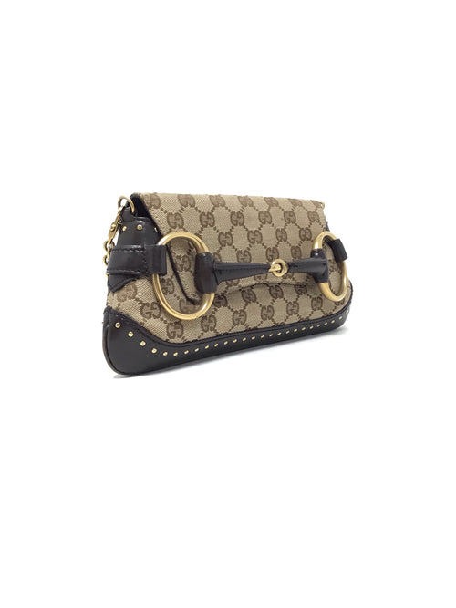 Gucci Monogram Canvas and Leather Horsebit Studded Chain Clutch