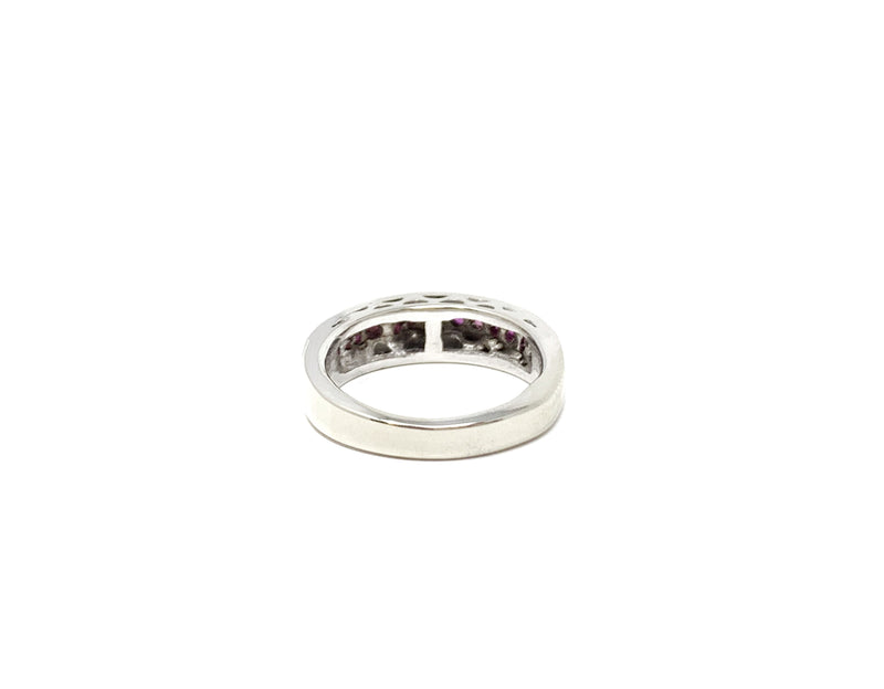 Silver Ring Ruby Band