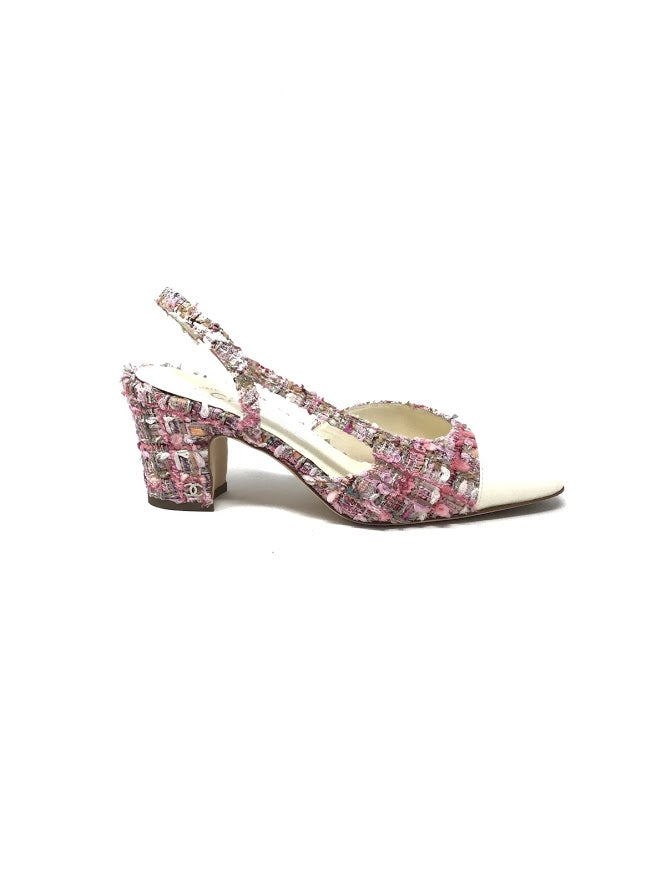 Chanel Patterned Tweed Slingback Leather Toe Cap Heel