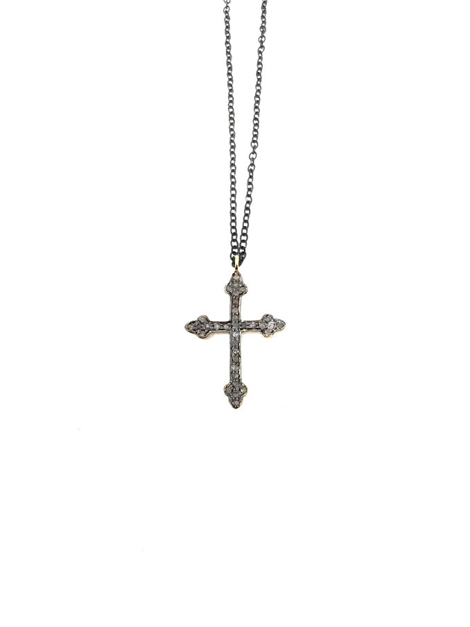 Shalom Jewelry Oxidized Diamond Cross Pendant Necklace