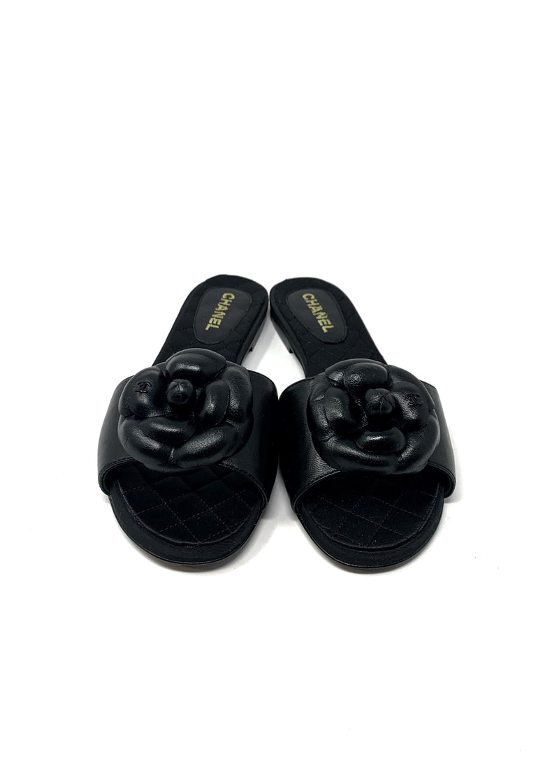 Chanel Camellia Leather Slide Size 37