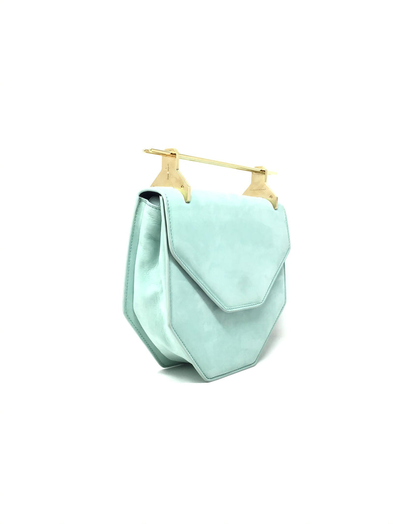 M2malletier Mint 'Amor Fati' Suede Bag W/ Gold Hardware