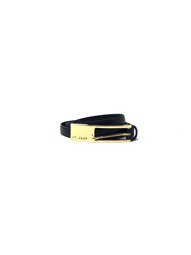 St. John Size 2 Black/Gold  Thin Leather Wrap Around Belt W/ Gold Buckle