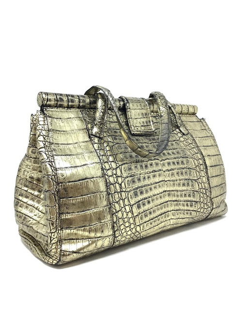 Nancy Gonzalez Gold Metallic Croc Magnetic Handbag