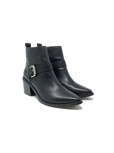 All Saints 38.5 Pebbled Leather Buckle  Booties