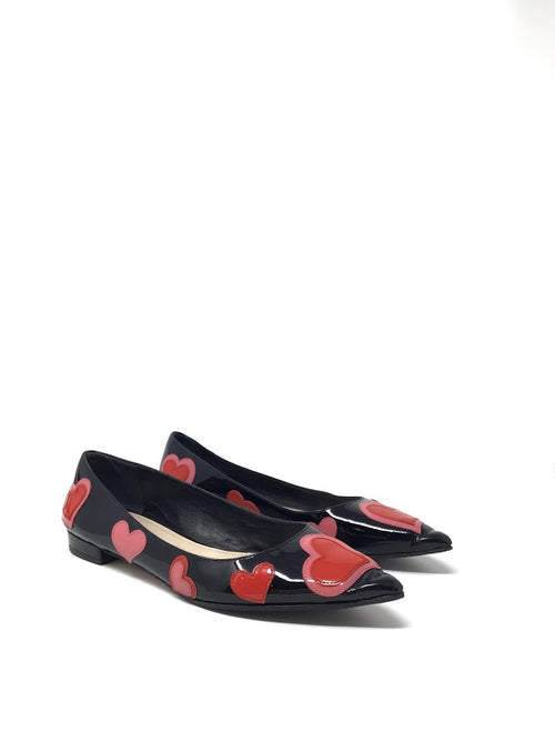 Prada W Shoe Size 36 Patent Heart Applique Pointed Toe Flats