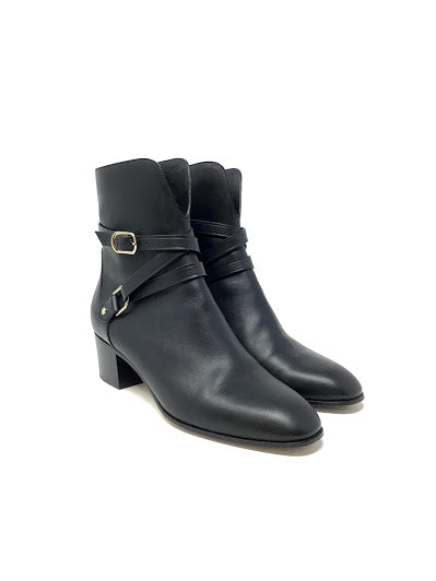 Jimmy Choo 37.5 'Harker' Leather Buckle Booties