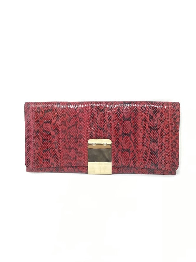 Valentino Red Python Flap Clutch