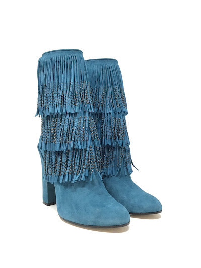 Paul Andrew W Shoe Size 37 Suede Round Toe Fringe Stud Booties