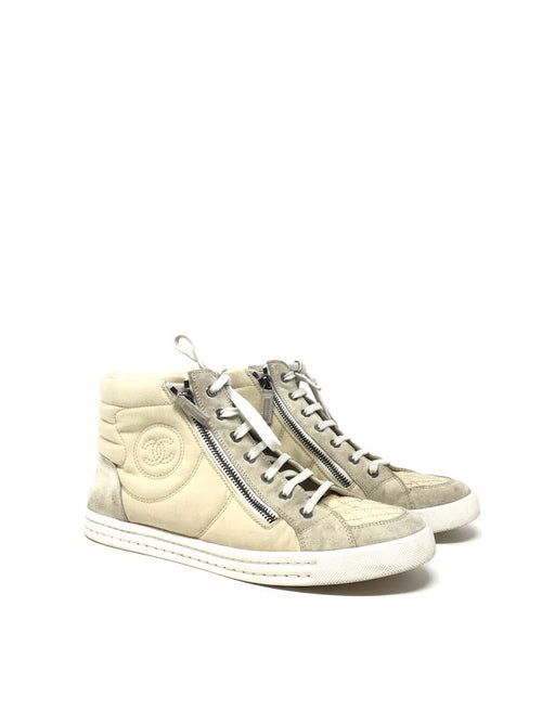 Chanel Quilted Canvas Lace Up High Top Sneakers