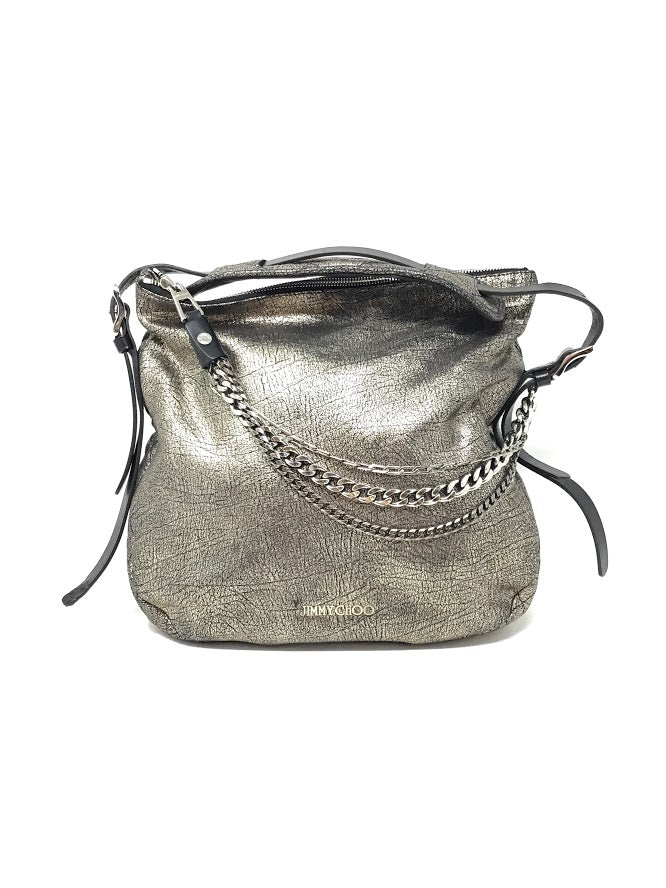 Jimmy Choo Gunmetal Quilted Trim Leather Boho Cracked Handbag