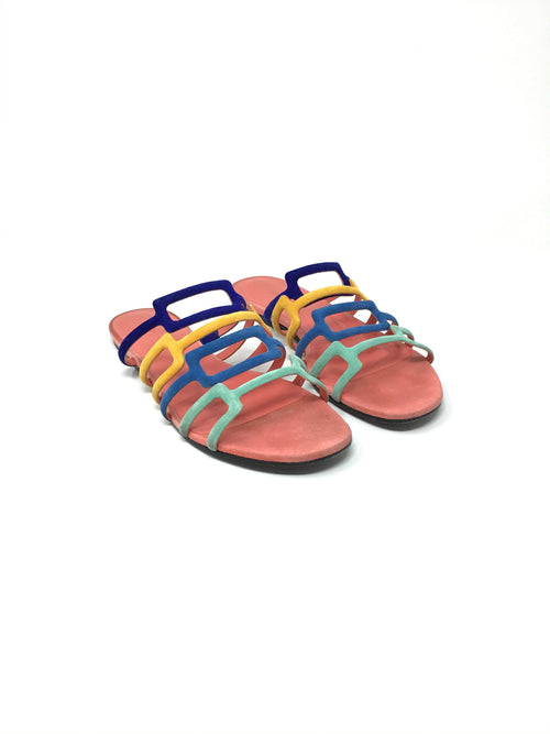 Hermes Size 37.5 Colorful Suede 'Oracle' Mule Sandals