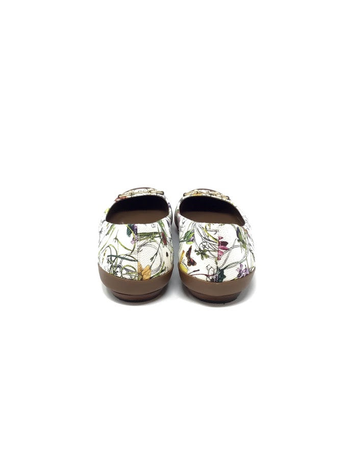 Gucci W Shoe Size 40 Leather/Canvas Floral Print W/Horsebit Flats