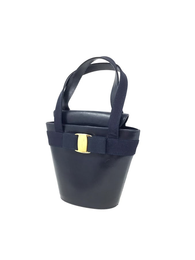 Salvatore Ferragamo Navy Vintage Lamb Mini Bucket