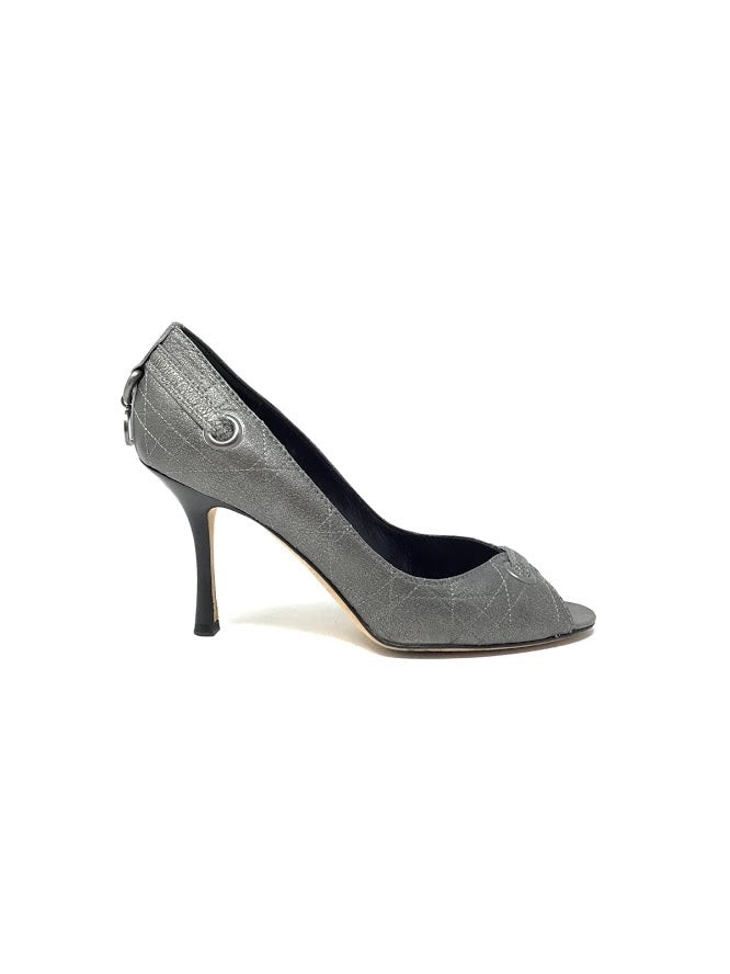 christian Dior 39 Gunmetal Cannage Escarpin Pee Toe Pumps