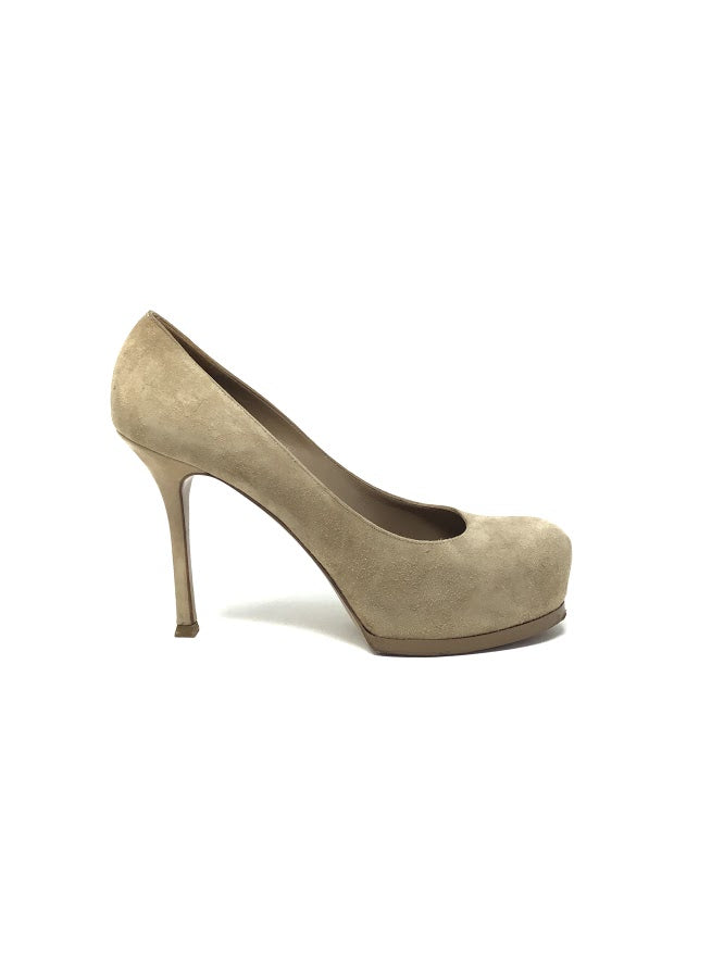 Saint Laurent 39.5 Suede Hidden Platform Tall Pumps