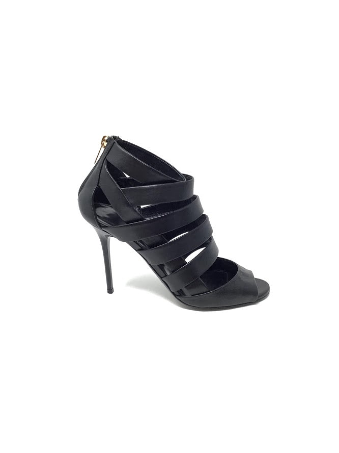 Jimmy Choo 37.5 Strappy 'Duran' W/Zip Back Heel