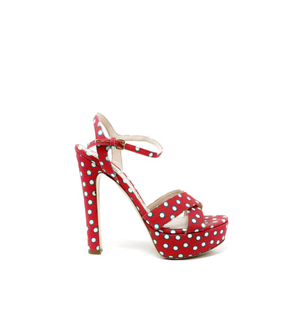 Miu Miu Polka Dot Platform Canvas High Heels