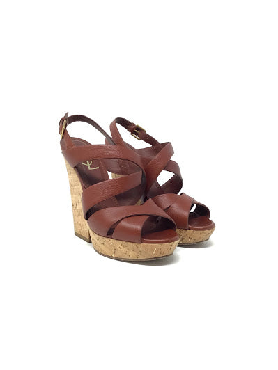 YSL 38.5 Leather Strappy Cork Wedge