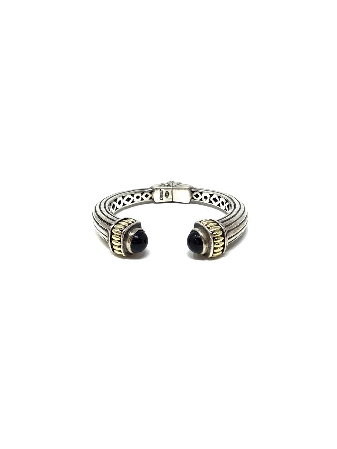 Lagos Silver Black Onyx Caviar Kick Cuff Bangle W/18K