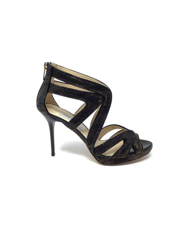 Jimmy Choo 37.5 Metallic Strappy Zip Back Heel