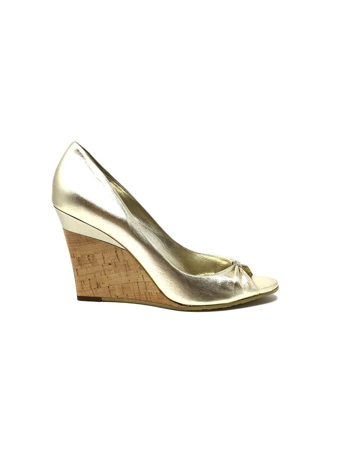 Gucci 9 WB Metallic Peep Toe Cork Wedge