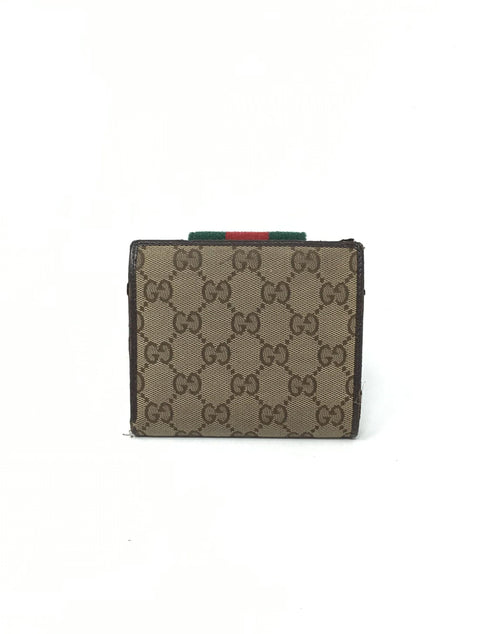 Gucci Striped Mini Flap French Wallet