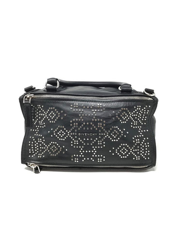 Givenchy Black Pandora Carpet-Pattern Studded Shoulder Handbag