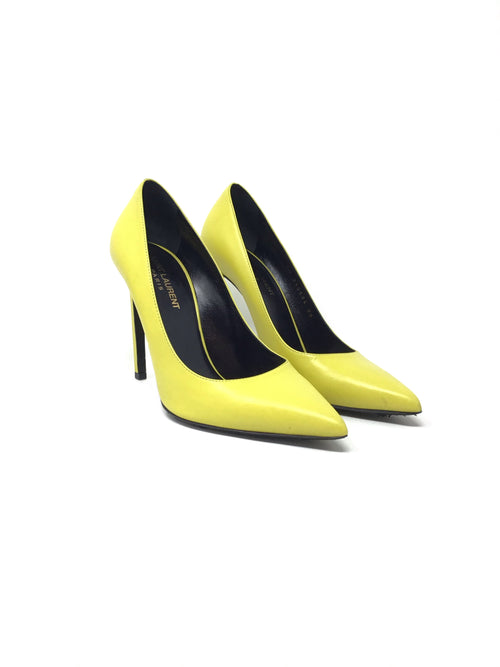 Saint Laurent W 38 Paris Pointed-Toe Calfskin Pump