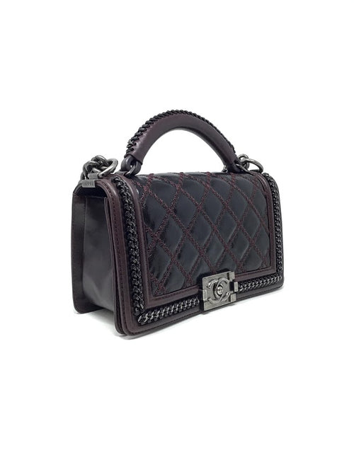 Chanel Bordeaux '15/'16 Quilted Top Handle Chain Flap Boy Bag