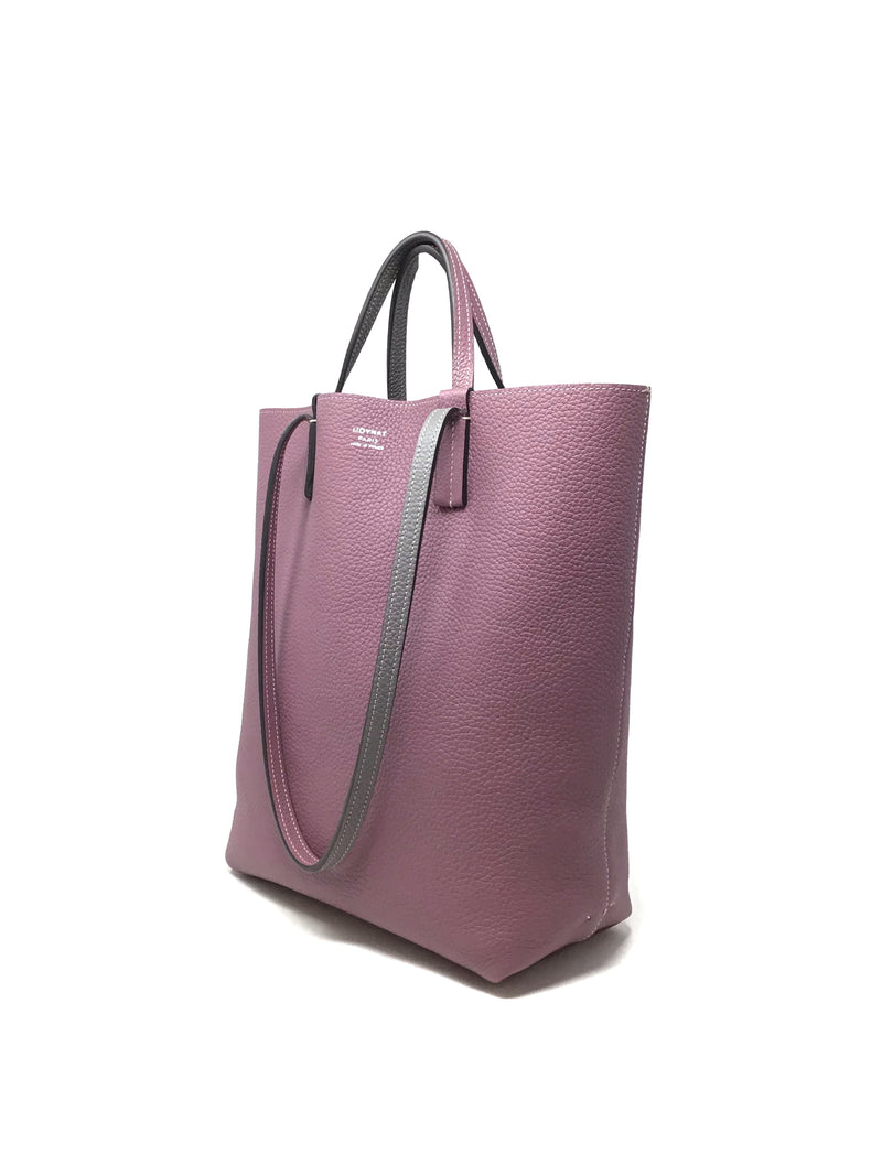 Moynat Mauve/Grey 'Quattro' Pebbled Leather Reversible Tote