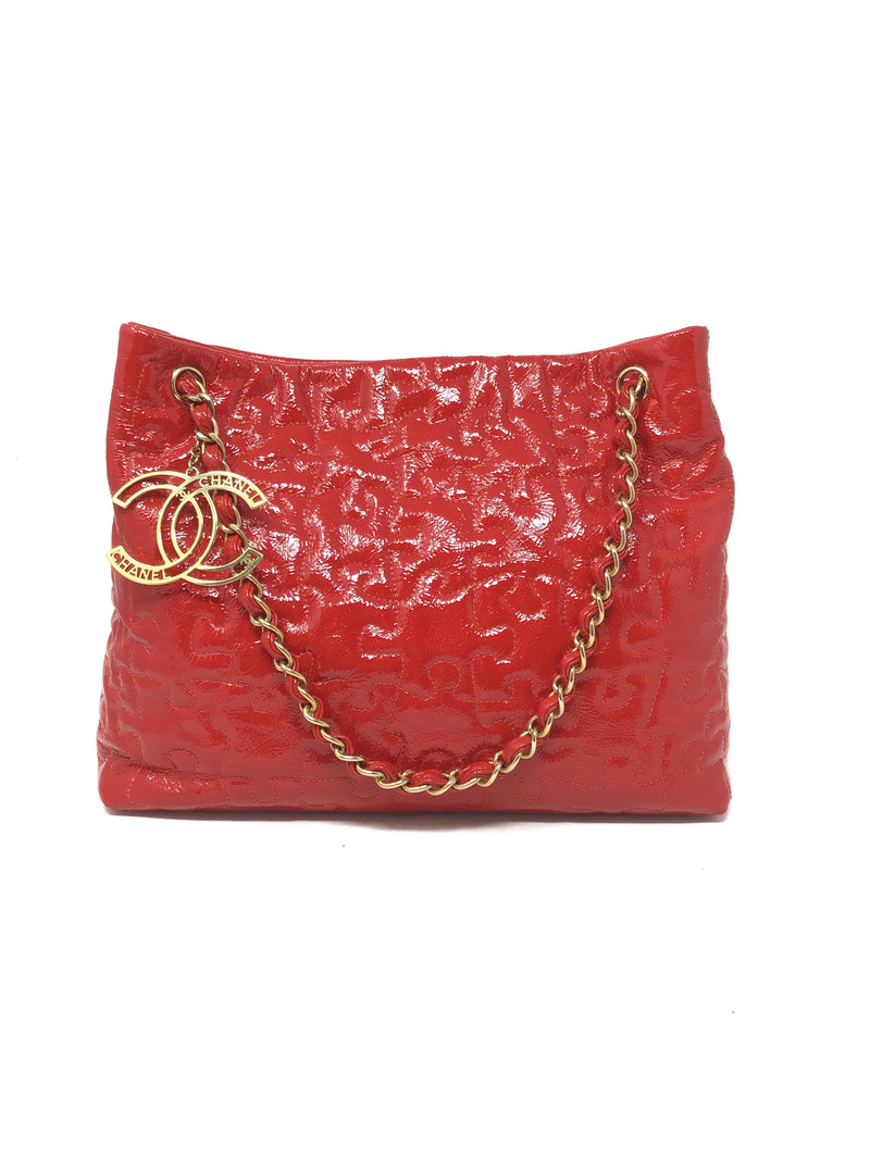 Chanel Red '09 Crackled Patent Calfskin Puzzle Tote