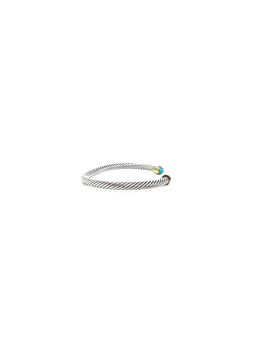 David Yurman Silver 4mm Sterling & 18K Cable Bracelet W/Turquoise