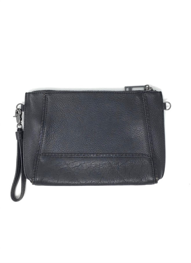 Botkier Black Pebbled Leather Zip Wristlet Clutch