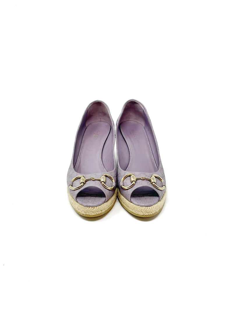 Gucci Lilac Guccissima Leather Espadrille Wedge
