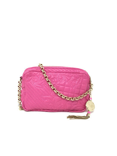 Versace Hot Pink Leather Quilted W/Gold Chain Handbag