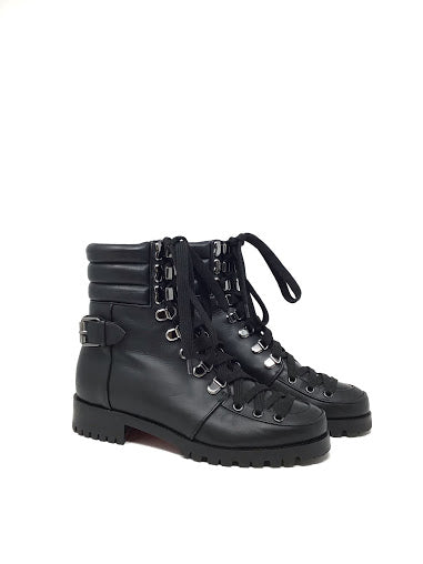 Christian Louboutin 36.5 'Who Runs' Leather Ankle Boot Low Heel