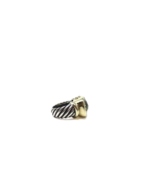 David Yurman Silver  Sterling & 16K Lemon Citrine Ring