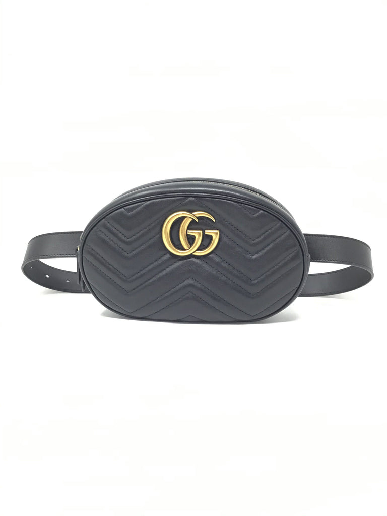 Gucci Black GG Marmont Matelassé Belt Bag