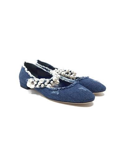 Miu Miu W Shoe Size 37 Distressed Denim Pearl Trimmed Ballet Flats