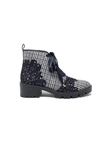 Karl Lagerfeld W Shoe Size 8 'Parker' Canvas Plaid Lace Floral Booties