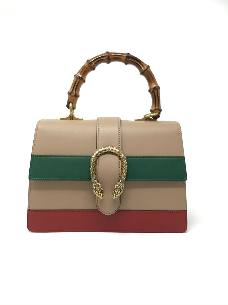 Gucci Nude/Green/Red  Med Dionysus Tri-Color W/Bamboo Handle