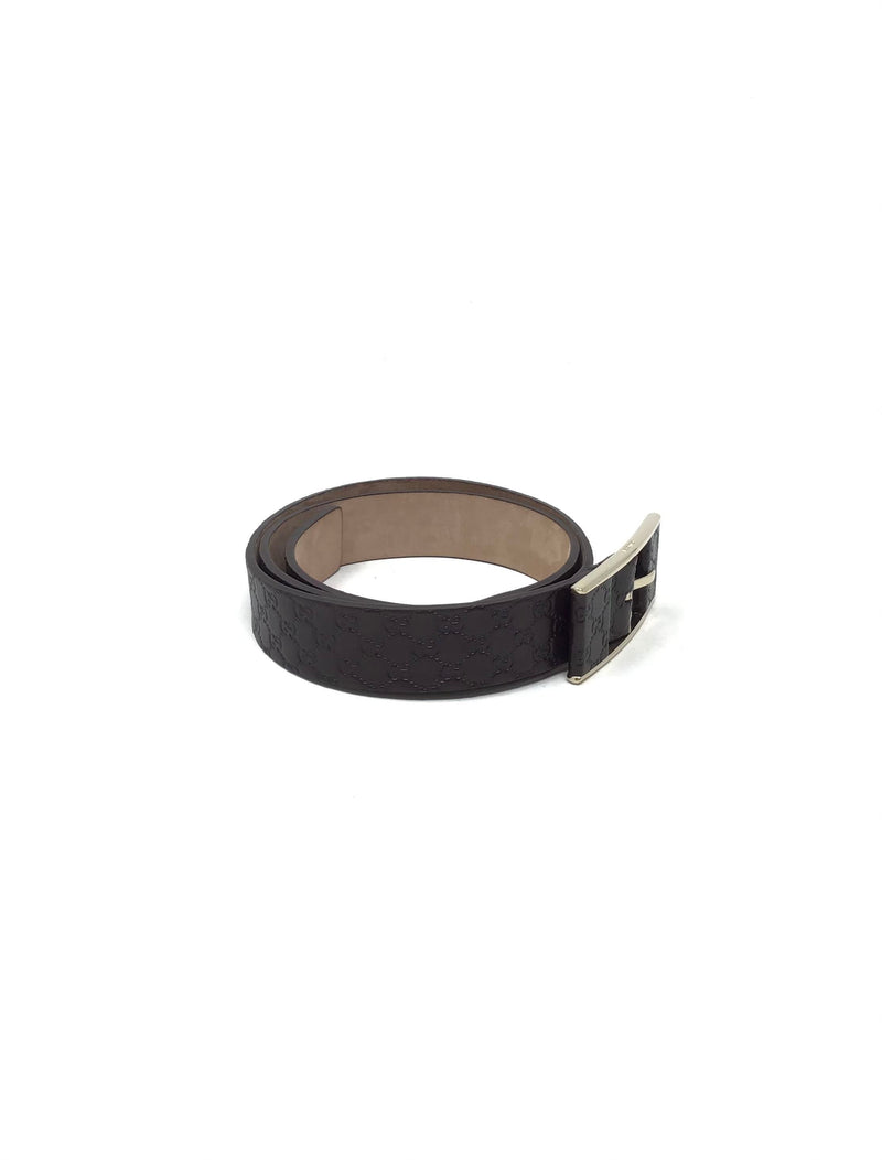 Gucci Size 85 Chocolate Guccissima Leather Belt