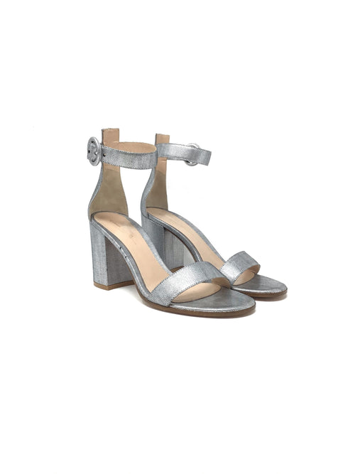 Gianvito Rossi W Shoe Size 38 Metallic Single Strap Chunky Sandal