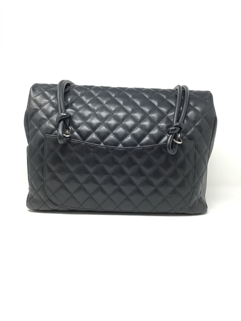 Chanel Black '04-'05 Large Quilted CC Cambon Flap Tote