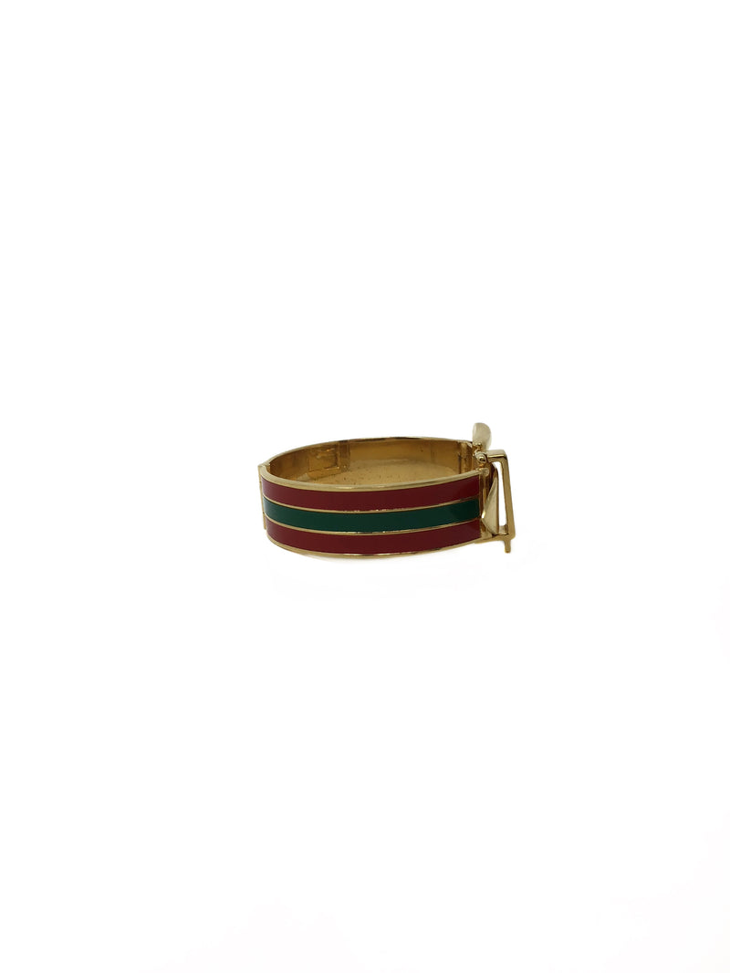 Gucci Green/Red Vintage 70's Striped Iconic Buckle Bracelet