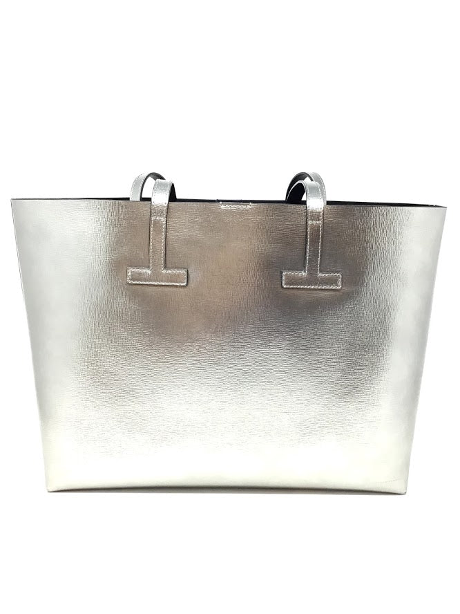 Tom Ford Pewter Saffiano Leather Small T Tote