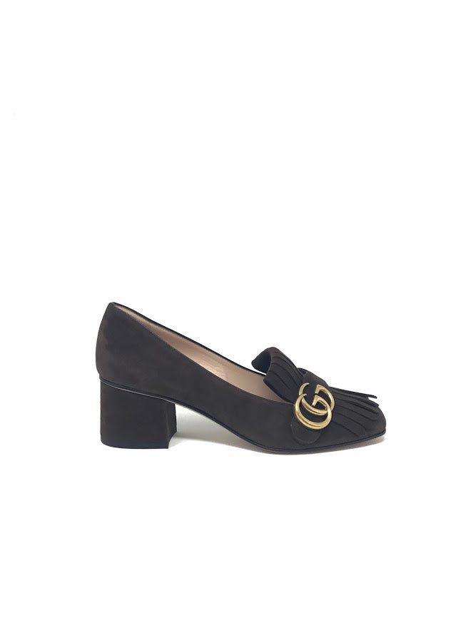 Gucci W Shoe Size 37 'Marmont' Suede Low Heel Loafer